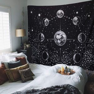 Moon Phase Starry Night Sky Tapestry